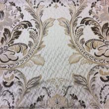 Купить итальянскую ткань в интернете, атлас, вискоза Gloria 011. Европа, Италия, портьерная. Серый фон, шоколадно-золотистый орнамент «дамаск»