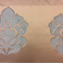 Красивая льняная ткань для штор 2358/41. Италия, Европа, портьерная. Бежевый фон, бирюзовый орнамент