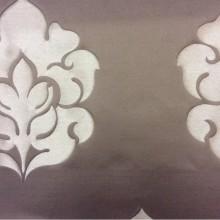 Итальянская ткань из льна с принтом 2358/27. Европа, Италия, портьерная ткань для штор. Шоколадный фон, золотистый орнамент