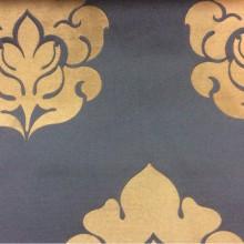 Элитный атлас с принтом из Италии 2358/40. Европа, Италия, портьерная ткань. Синий фон, бронзовый орнамент