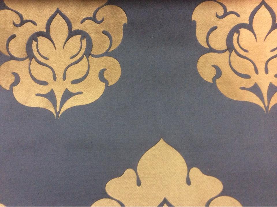 Элитный атлас с принтом из Италии 2358/40. Европа, Италия, портьерная ткань. Синий фон, бронзовый орнамент купить