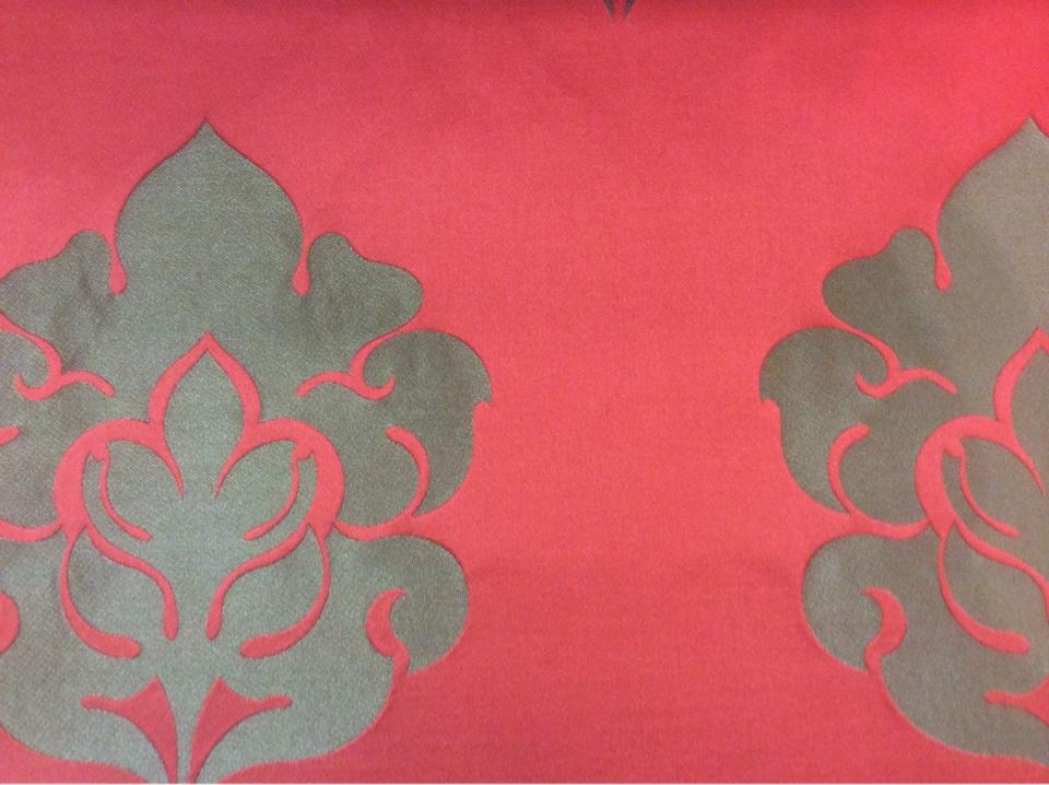 Дорогая итальянская ткань для штор из атласа и льна 2358/30. Европа, Италия, портьерная. Красный фон, бронзовый орнамент купить