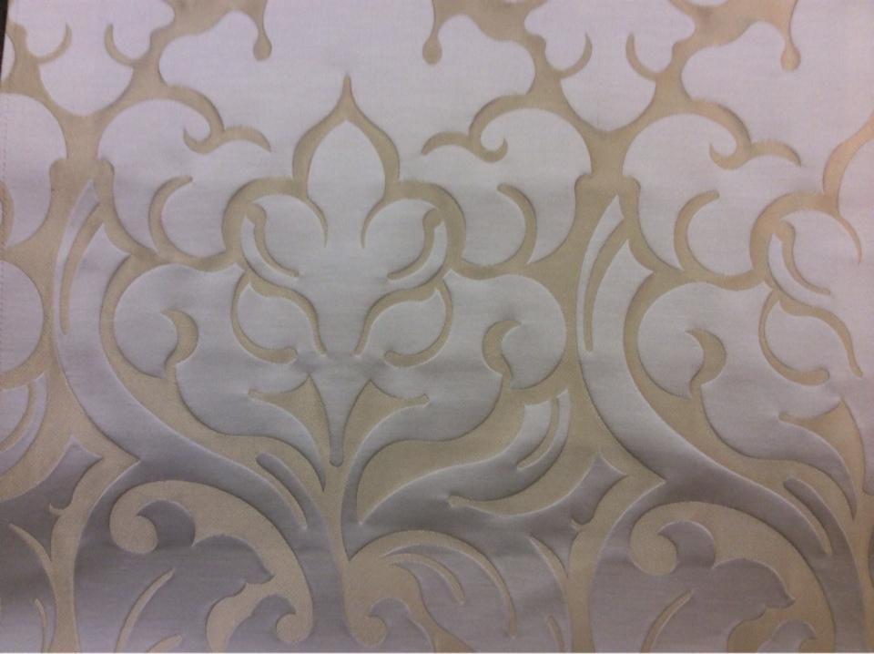 Ткань люкс в стиле арт-деко 2366/21. Италия, Европа, портьерная. Бежевый фон, ванильный орнамент купить