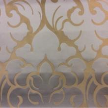 Купить итальянскую льняную ткань для штор 2366/45. Италия, Европа, портьерная. Золотистый фон, бледно-голубой орнамент