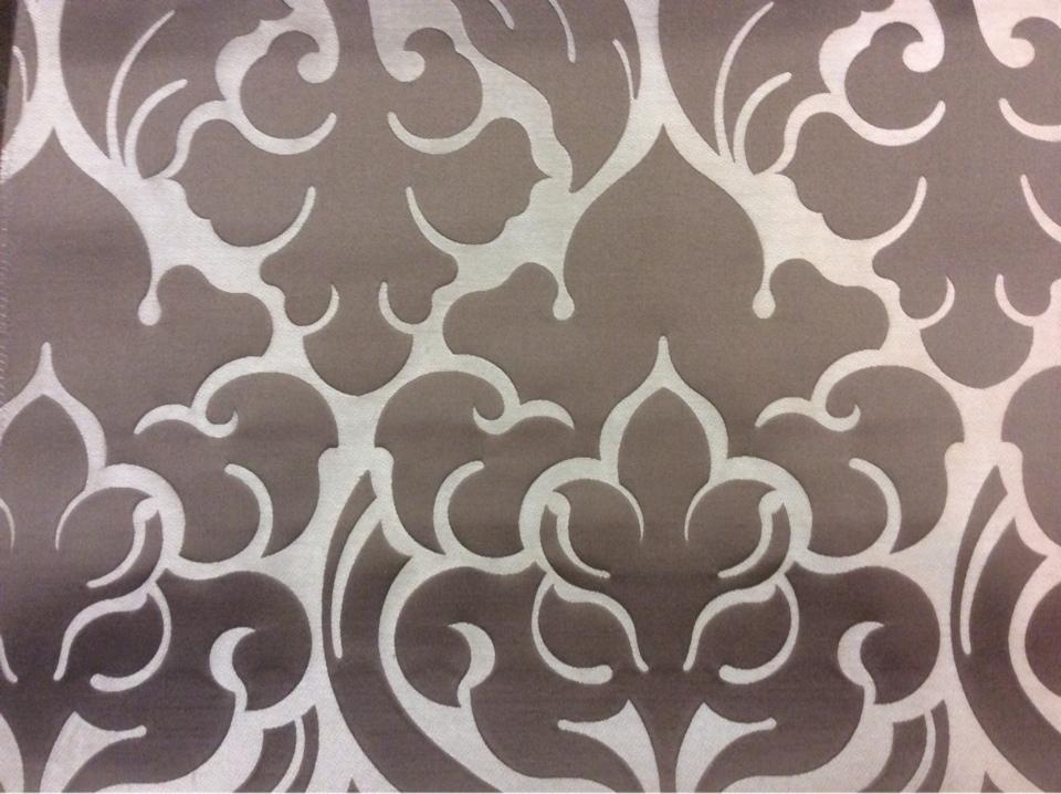 Очень красивая итальянская ткань из льна и атласа 2366/27. Европа, Италия, портьерная. Золотистый фон, шоколадный орнамент купить в Москве