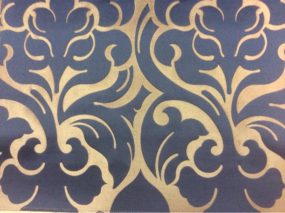 Итальянская ткань в розницу 2366/40. Европа, Италия, портьерная. Бронзовый фон, синий орнамент купить