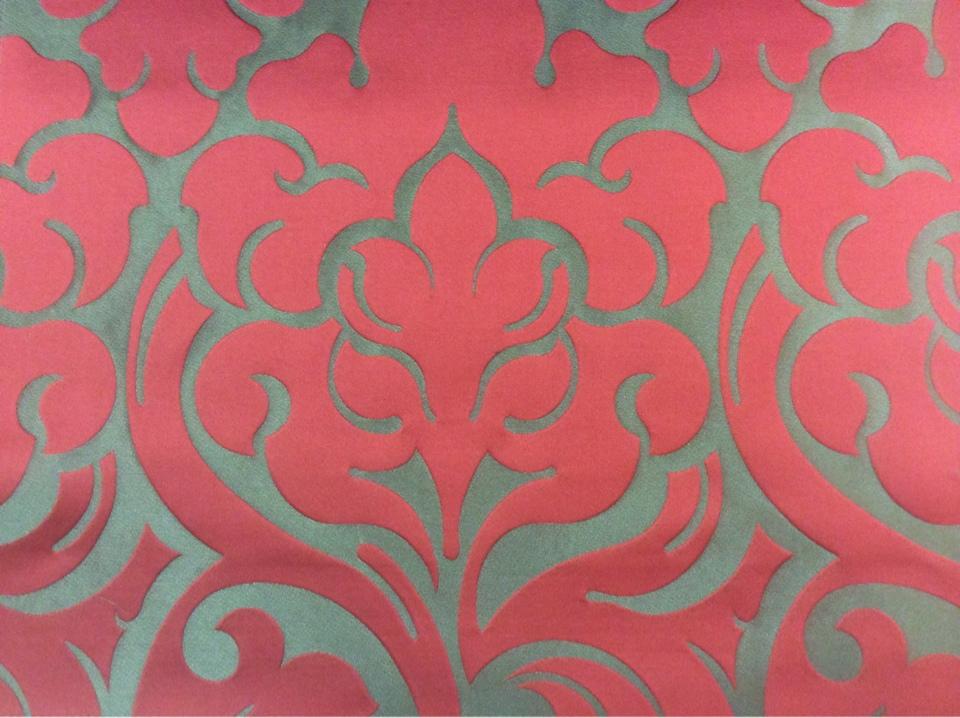 Ткань итальянского производства 2366/30. Европа, Италия, портьерная. Бронзовый фон, красный орнамент купить в Москве