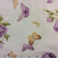 Ткань из шифона с яркими цветами и бабочками, микс, фон прозрачный, хлопок Арт: 2416/43. Италия, Европа, тюль