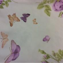 Ткань из шифона с яркими цветами и бабочками, фон кремовый 2401/43. Европа, Италия, тюлевая ткань