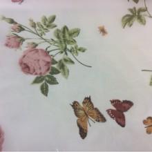 Ткань из шифона с яркими цветами и бабочками, фон кремовый 2401/33. Европа, Италия, тюль