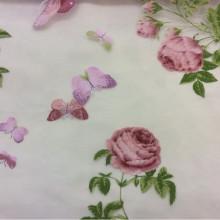 Ткань из шифона с яркими цветами и бабочками, фон прозрачный, хлопок 2416/31. Европа, Италия, тюль