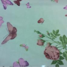 Заказать ткань из шифона с яркими цветами и бабочками, фон салатовый 2401/51. Италия, Европа, тюль