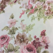 Купить ткани в розницу из шифона в Москве с ярким цветочным принтом, ванильный фон 2413/23. Европа, Италия, тюль