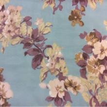 Ткань из шифона с ярким цветочным принтом, микс, бирюзовый фон 2413/41. Италия, Европа, тюль