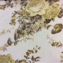Ткань «под лён» с ярким цветочным принтом, белый фон 2411/22. Европа, Италия, тюль для штор