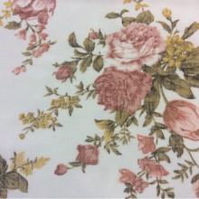 Купить ткань «под лён» с ярким цветочным принтом, микс, фон белый 2411/23. Европа, Италия, тонкий тюль для штор
