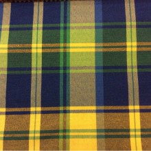 Купить ткань «шотландка» в Москве Quebec, col 66. Европа, Испания, портьерная. Орнамент «шотландская клетка» синего, зелёного, жёлтого оттенков