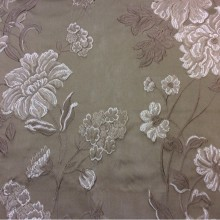 Купить элитную ткань из жаккарда в Москве Elea, col 13. Италия, Европа, портьерная. На тёмно-бежевом фоне серебристо-шоколадные цветы