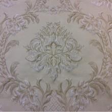 Купить жаккардовую ткань с рельефным орнаментом Efesos, col 1. Италия, Европа, портьерная. На кремовом фоне серебристо-бежевые «дамаски»