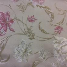 Купить атласную ткань с вышивкой Fashion, col 102. Италия,Европа, портьерная ткань для штор. На серо-бежевом фоне ванильные, розовые цветы