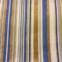 Купить испанскую натуральную ткань с набивкой из шенила с добавлением льна Clark, col 60. Испания, портьерная плотная ткань для штор. Вертикальная полоса синего, жёлтого, ванильного оттенков