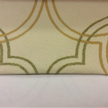 Плотная ткань с добавлением хлопка в Москве в розницу Aquamarine, col 30. Испания, Европа, портьерная. На светлом фоне абстрактные линии жёлтого и оливкового оттенков