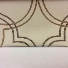 Элитная плотная ткань для штор с добавлением хлопка Aquamarine, col 31. Испания, Европа, портьерная. На светлом фоне абстрактные линии коричневых оттенков
