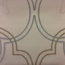 Заказать красивую ткань для штор Aquamarine, col 32. Испания, Европа, портьерная. На светлом фоне абстрактные линии голубого и коричневого оттенков
