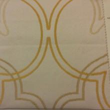 Заказать испанскую ткань из хлопка Aquamarine, col 35.  Испания, портьерная. На светлом фоне абстрактные линии бежевого и жёлтого оттенков