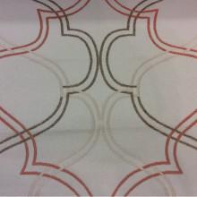 Хлопковая ткань в интернет-магазине Aquamarine, col 29. Европа, Испания, портьерная. На светлом фоне абстрактные линии  бронзового и кораллового оттенков