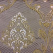 Очень красивая ткань в стиле барокко, ампир, ажурные серебристо-золотые «дамаски» на сером фоне Арт: 1320A, col 12. Италия, Европа, портьерная
