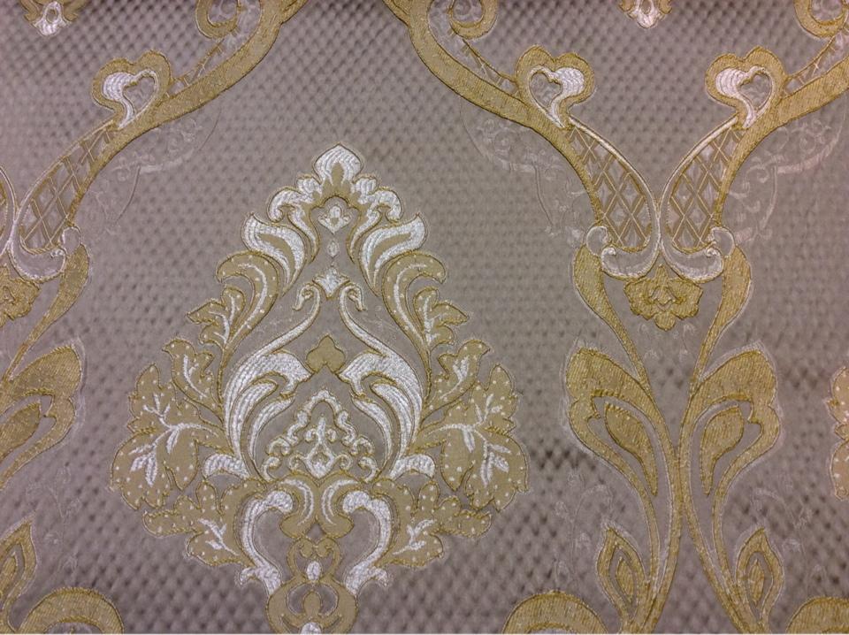 """Очень красивая ткань в стиле барокко, ампир, ажурные серебристо-золотые """"дамаски"""" на сером фоне Арт: 1320A, col 12. Италия, Европа, портьерная"""