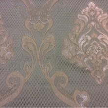Купить европейскую ткань из жаккарда с рифлёной фактурой Арт: 1320A, col 10. Италия, Европа, портьерная. Ажурные серебристо-кремовые «дамаски» на фоне цвета морской волны