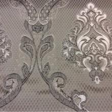 Купить ажурную ткань с серебристо-шоколадными «дамасками» на сером фоне Арт: 1320A, col 11. Европа, Италия, портьерная