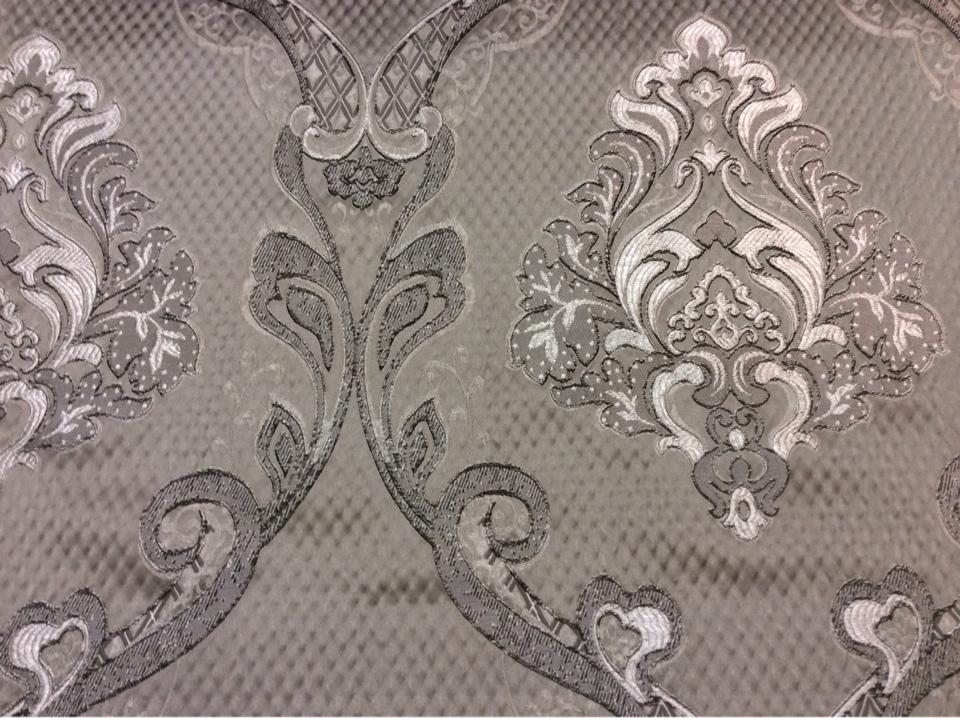 """Купить ажурную ткань с серебристо-шоколадными """"дамасками"""" на сером фоне Арт: 1320A, col 11. Европа, Италия, портьерная"""