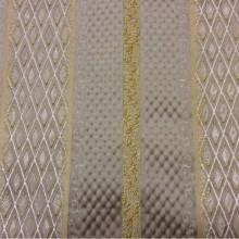 Купить ткань жаккард в Москве Арт: 1320F, col 12. Италия, Европа, портьерная. Чередование полос с мелким ромбом серебристого, золотого, серого оттенков