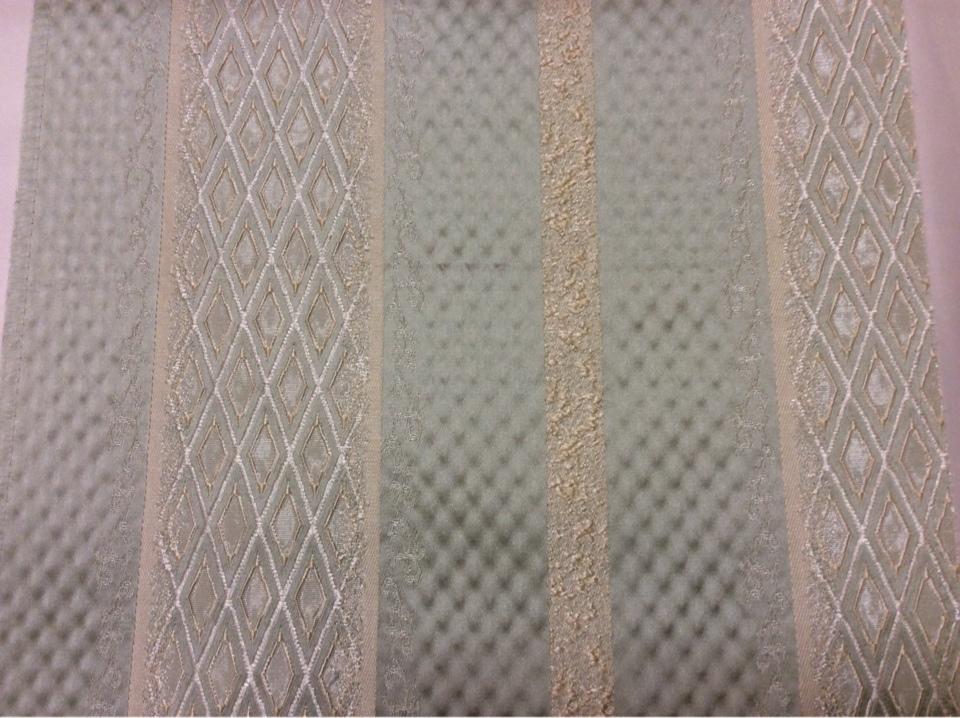 Жаккардовая ткань с рифлёной фактурой Арт: 1320F, col 10. Европа, Италия, портьерная ткань для штор. Чередование полос с мелким ромбом серебристого, золотистого, морской волны оттенков
