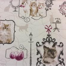 Купить ткань из хлопка и полиэстера с котами и кошками в Москве Cinema, col 28. Европа, Испания, портьерная. Оттенки серого, малиновый, охра