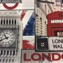 Купить ткань с изображением Лондона (London) тефлоновая ткань с хлопковой нитью и креативным изображением рисунка British, col 01. Испания, портьерная, скатертная. Серый, красный, синий цвет ткани