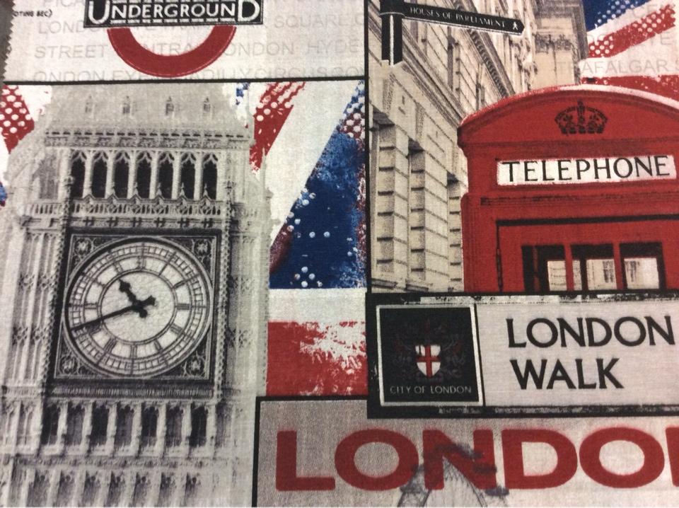 Купить ткань с изображением Лондона тефлоновая ткань с хлопковой нитью и креативным изображением рисунка British, col 01. Испания, портьерная, скатертная. Серый, красный, синий цвет ткани