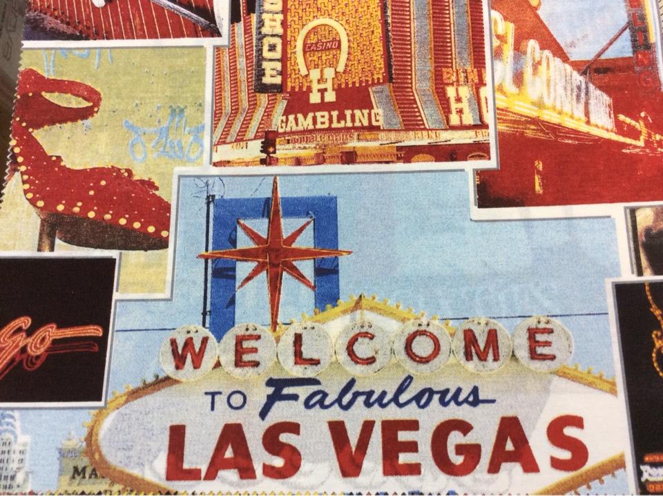 Купить ткань в комнату подростка тефлоновая ткань с хлопковой нитью и креативным изображением рисунка Las Vegas, col 01. Испания, портьерная, скатертная ткань.