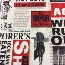 Тефлоновая ткань с хлопковой нить ю и креативным изображением рисункаShocker, col 04. Испания, Европа, портьерная, скатерть. Серо-бежевые оттенки, красный