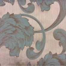 Итальянская жаккардовая ткань с добавлением хлопка Glamour, col 5. Европа, Италия, портьерная. На бежевом фоне завитки бирюзового, песочного оттенков
