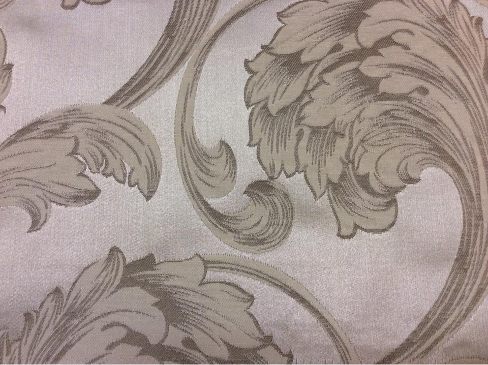 Купить красивую итальянскую ткань в ЦАО Glamour, col 16. Италия, Европа, портьерная. На серебристом фоне завитки кремового, песочного оттенков