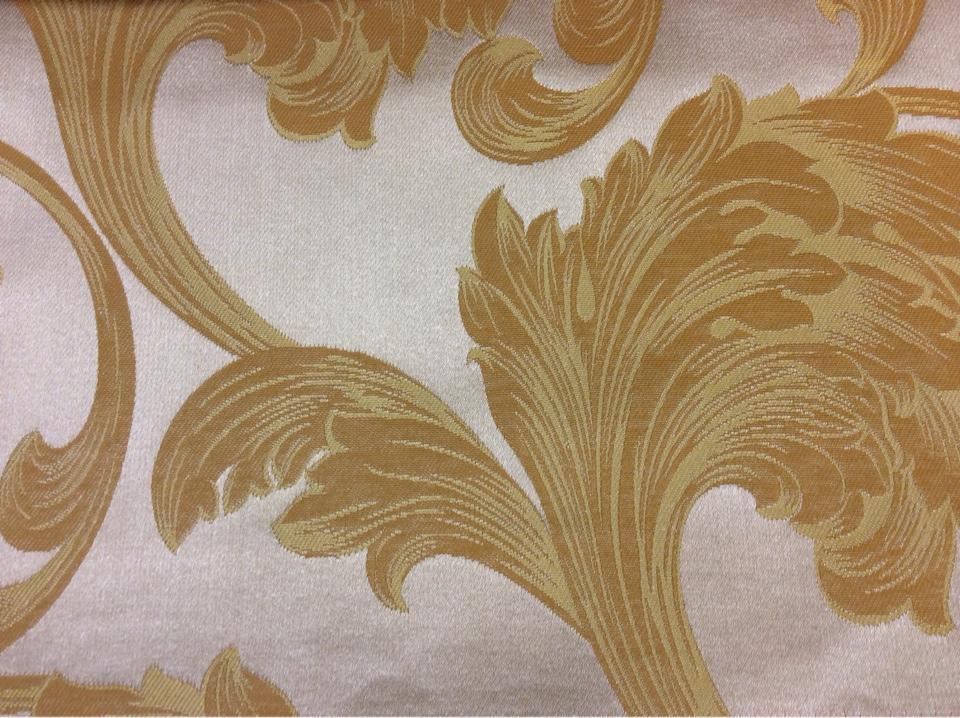 Купить ткань жаккард в интернет-магазине Glamour, col 30. Европа, Италия, портьерная. На светлом фоне завитки золотисто-рыжих оттенков
