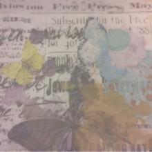 Купить тюль с растительным орнаментом  и бабочками 2519/90. Италия, тюль. На прозрачном фоне «размытое» нанесение слов, бабочек, цветов ( микс, акварель)