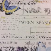 Портьерная натуральная ткань из хлопка на светлом фоне «газетный» орнамент, бабочки ( микс, акварель) 2502/90. Италия, портьерная