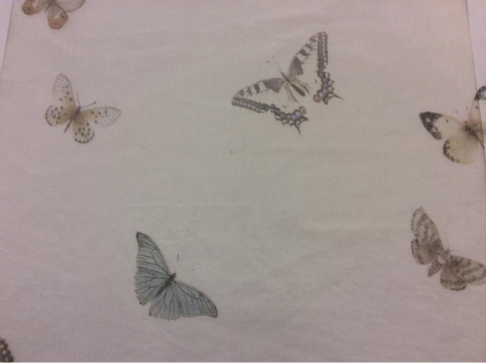 Тонкая тюлевая ткань кремового цвета с бабочками 2514/29. Италия, Европа, портьерная.