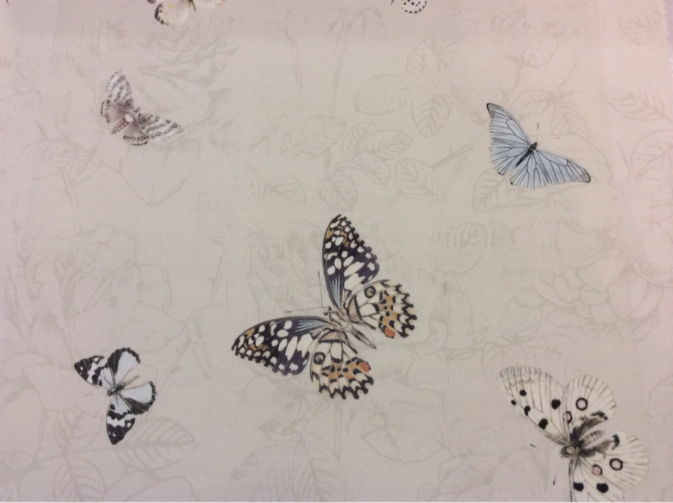 Ткань кремового цвета с бабочками в Москве 2505/29. Италия, Европа, портьерная ткань для штор.