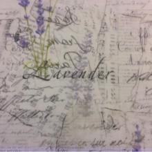 Тонкая тюлевая ткань, на полупрозрачном фоне абстрактный рисунок: лаванда, «газетный» стиль нанесения 2496/43. Европа, Италия, тюль
